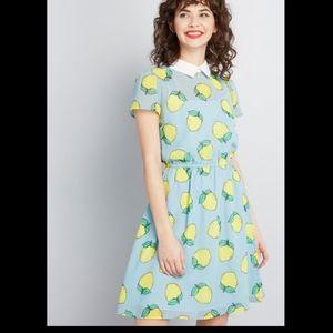 Modcloth | Lemon Print Your Lively Side Dress